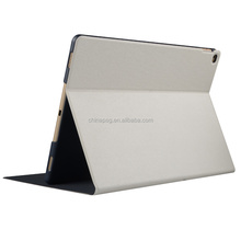 Good quality folding pu leather stamping silk Texture tablet case for Ipad pro12.9 logitech for ipad pro case
