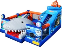 Inflatable shark combo, inflatable ocean theme bouncy castle combo games for sale B3030