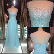 China custom made ball gown blue lace women wedding dress new model Turkish evening dresses fashion