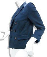 Navy Cotton Nylon Welt Ripple Knit Double Breasted jacket blazer teen girl women ladies dresses evening 2012 fashion women busin