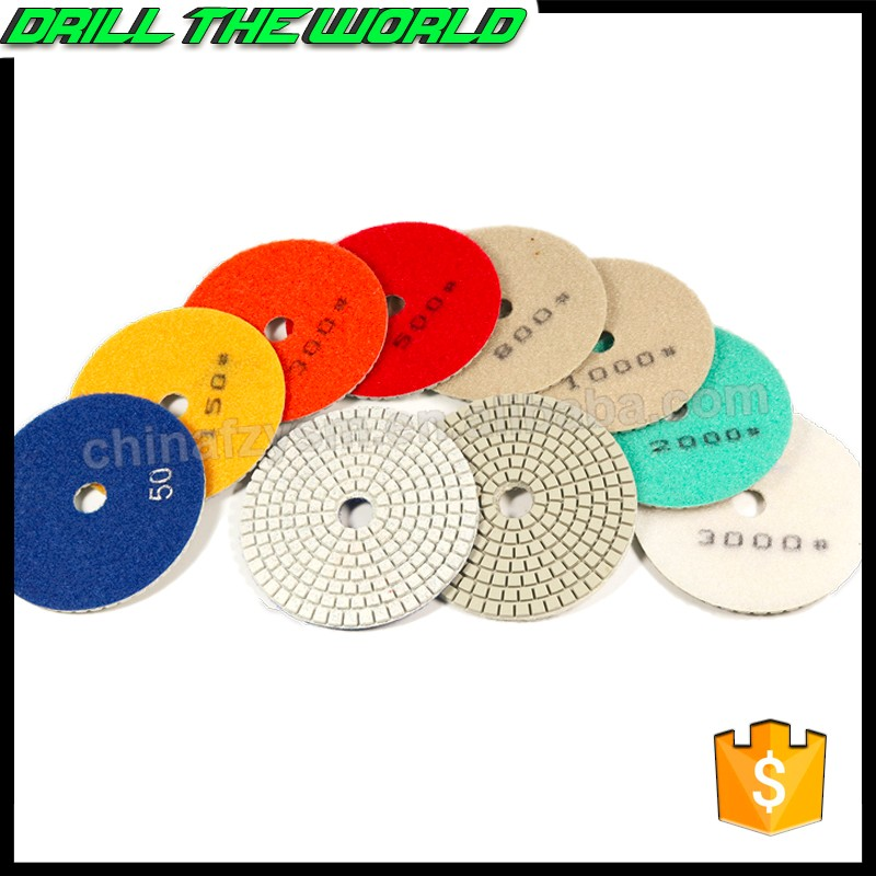 80mm-200mm resin boned diamond wet buffing polishing pad for floor stone granite marble