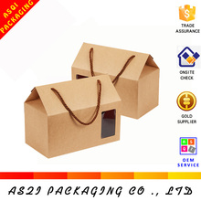 china custom brown corrugated craft paper house shape box for gift packing
