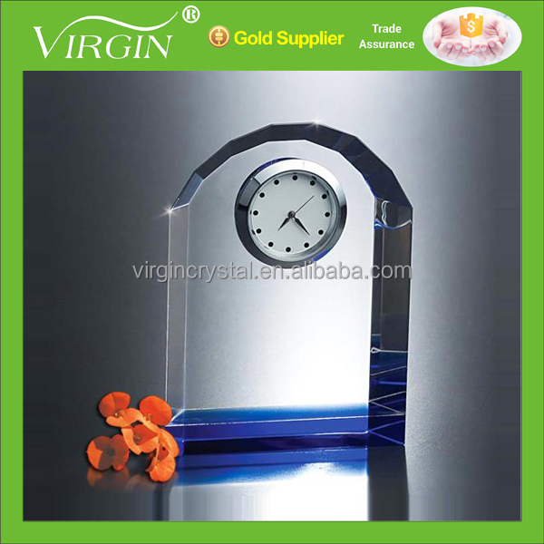 Cheap blank crystal quartz office desk clock for corporate awards