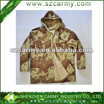 C65 T35 denim men's US army style camouflage BDU hooded military jacket