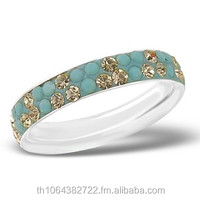 Fashion Jewellery Crystal 925 Sterling Silver Band Inlay Finger Ring for Girls\Women