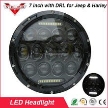 New Product 7 inch Round 75w DOT, SAE, E9 Certified Led Headlight with DRL for Harley & Jeep