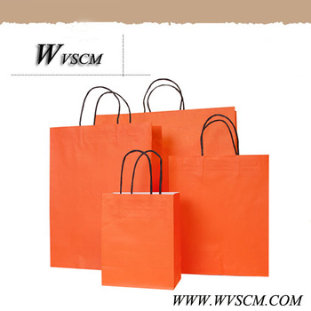 New Year Hot Orange Paper Bags With Handles Whole