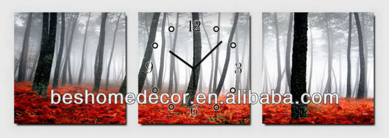 Autumn red falling leaves clock wall stickers, projection clock, <strong>arts</strong> and crafts wall clock