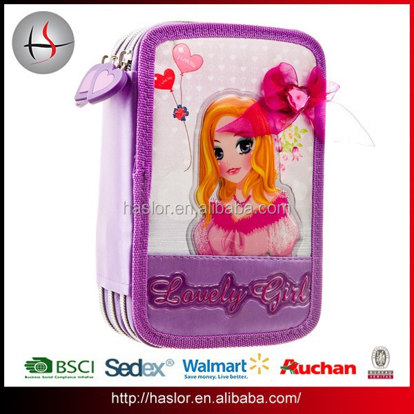 Custom funny 3 layers drawing pencil case for kids 2015