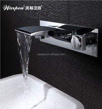 Best Selling Basin Faucet Dual Crass Handle Haiba Wall Mounted Waterfall Faucet