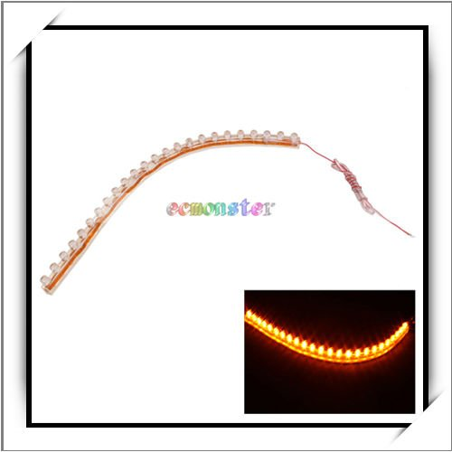 HOT! Yellow 24-LED Strip Car Lights Flexible Soft Gum Light