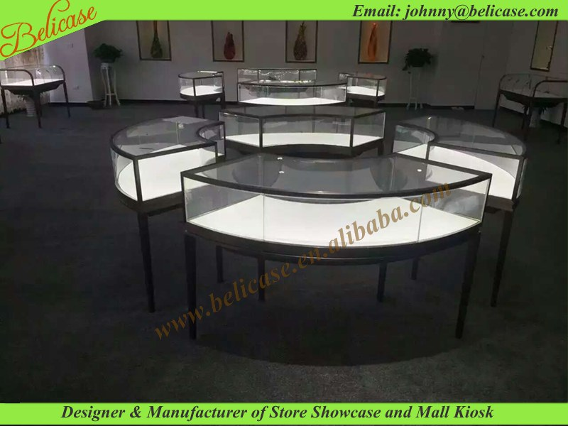 Fashion metal display kiosk , round showcase counter for jewelry store