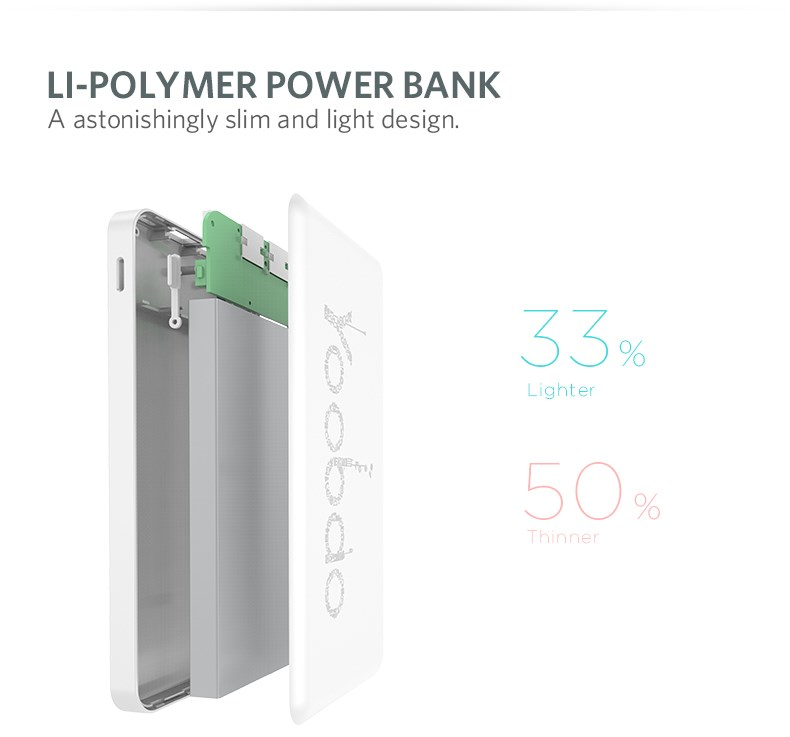 power bank quick charge QC2.0 12000mah for smart phones