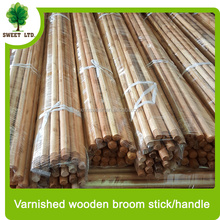 factory low price brush wood handle varnished wood pole manufacture