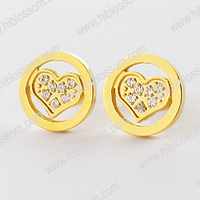 fashion stainless steel small gold plate heart jewellery cz stud earring