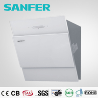 White tempered glass touch switch kitchen air range hood chimey/cooker hood