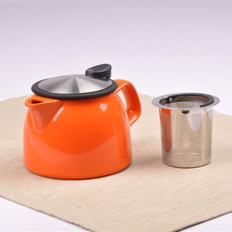 hot sale factory direct colorful porcelain tea pot with tea strainer