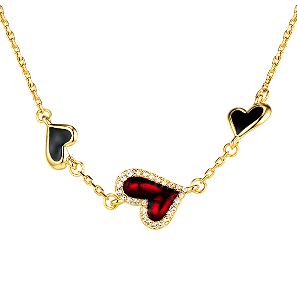 Gold Plated Leaf Necklace Crystals from Swarovski Red Stone