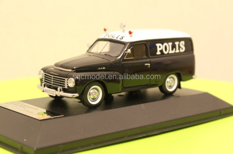 1:43 oem black volvo resin police car toy old model cars