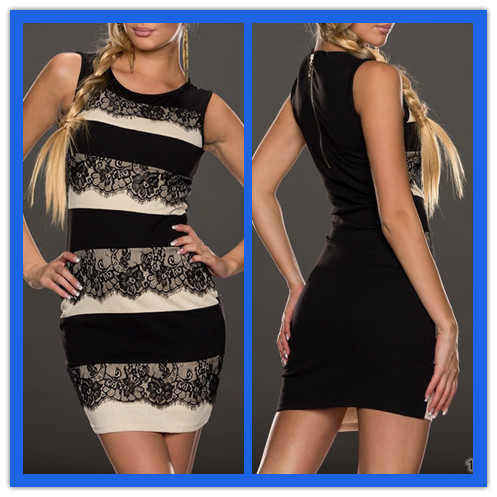 women sleeveless Fashion Patchwork Lace Bodycon Lady Sexy Dress sexy ladies without dress