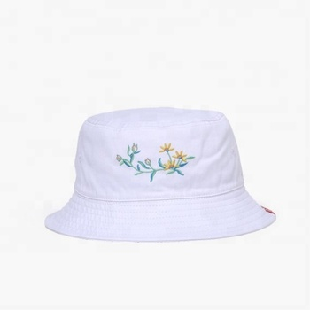 KaPin White Stylish Floral Embroidered Fisherman Bucket Hat for Women Ladies Girls and Men
