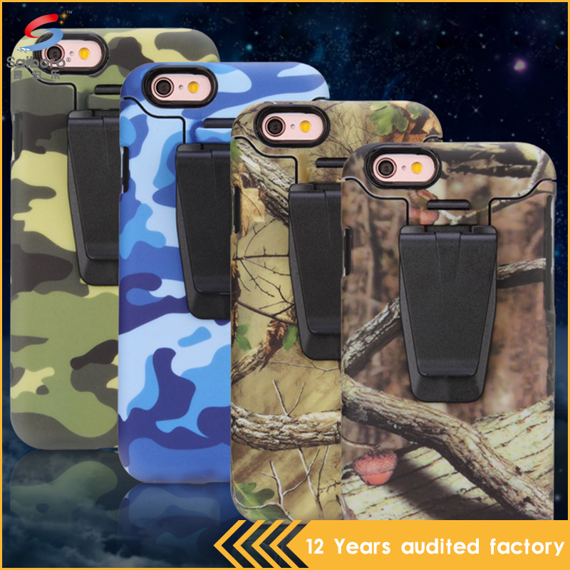 Top selling products in alibaba pc tpu durable camouflage belt clip case for iPhone 6
