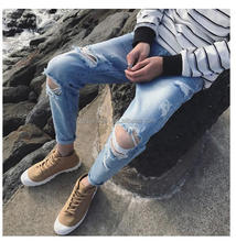 A mani jeans men fashion european style urban star jeans men light blue cat whisker ripped damaged denim jeans for men