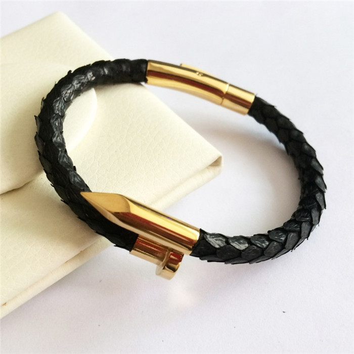 Custom Real Python Leather Gold Rose Gold Nail Bracelet_6