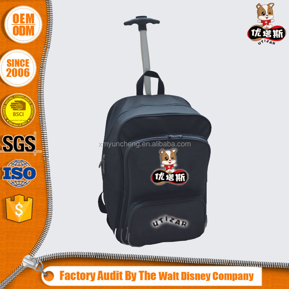 Leisure travel trolley backpack with wheels duffle bag