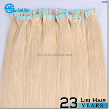 6A Grade Black Brown Blonde Red Pink Grey Availalbe AAAAA grade Tape In Hair Extensions Remy Russian Tape Hair Extensions