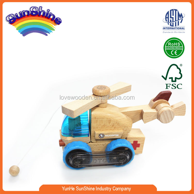 2015 New Hot Sell Wooden Train EN71 ASTAM stander Railway Train wooden train track toy Assembled Rescue helicopter 8125