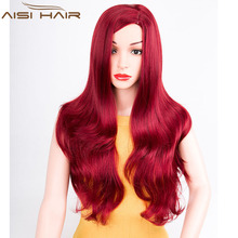 30 Inch Long Natural Wave Synthetic Red Hair Wigs For Black Women