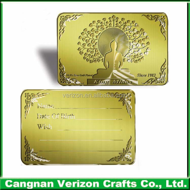 Best custom Gold Embosed Double-side Metal Buddha card And Metal Business Card