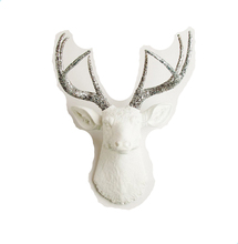 Resin Decorations Silver Glitter Antlers White Deer Head Wall Mount