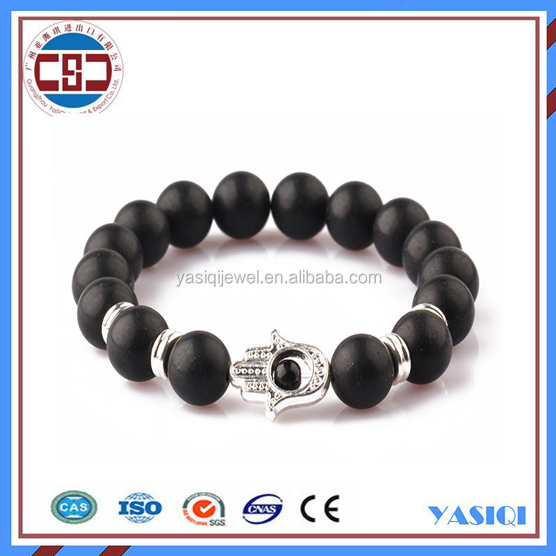 2016 hot product New products natural black onyx beads silverand gold hamsa bracelet for sex women and men.