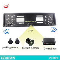 European license plate rear view camera with parking sensor