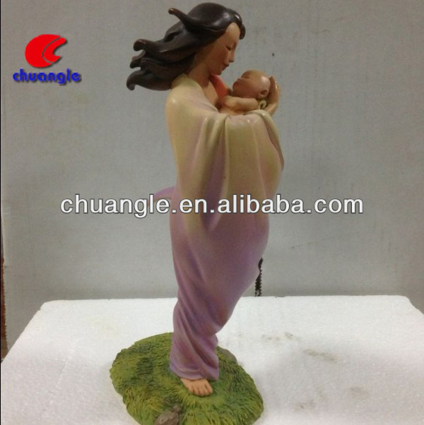 3D Mom and Baby Figure, ODM Holding Baby Figurine