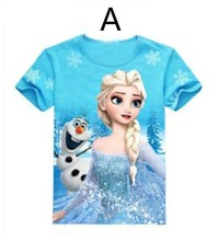 wholesale frozen girls cotton short t shirts printing for 2-10 years girls cotton t shirt hot frozen girls tshirts