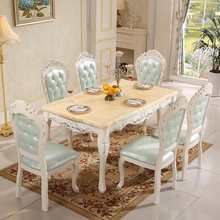 European natural marble dining table and chairs combination 6 people
