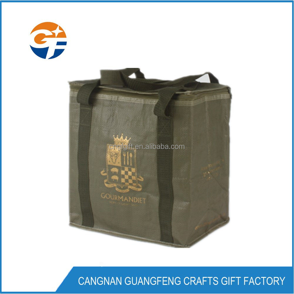 cooler bag Lunch Insulated Picnic PP woven Cooler Bag for frozen food