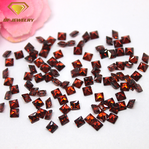 Machine Cut Dark Red Cubic Zirconia Synthetic Square CZ Gemstone