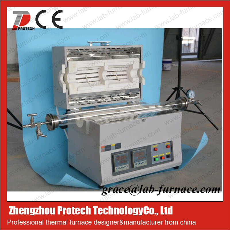 Horizontal vacuum carbon tube furnace for heating treatment - PT-1200X-KF-IC