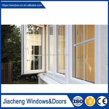 PVC casement window french style tempered glass water proof home office window profile pvc frame casement window