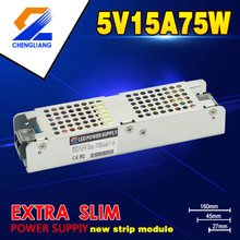 75W 5V 15A Extra Slim And Strip LED Driver Power Supply With CE RoHS FCC