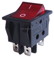 Red Light Lamp Illuminated On-Off SPDT Boat Rocker Switch 6 Solder Lug Pin