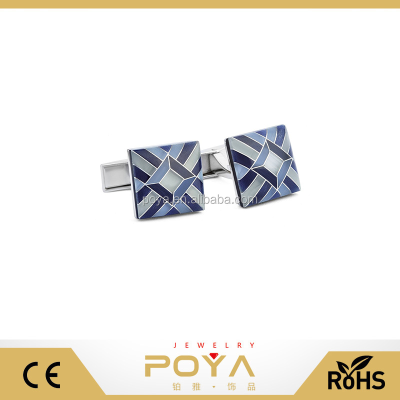 POYA Jewelry Men's Rhodium Plated Mosaic Cats Eye Stone Cufflinks Shirt Wedding Business