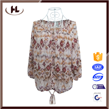 2016 summer long sleeve plus size chiffon printed latest fashion women casual blouse designs for ladies