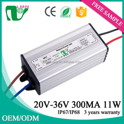 11 Watt waterproof constant current led driver 300ma