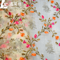 hot sale embroidered organza fabric