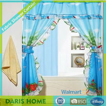 Beautiful Printed Double Swag Shower Curtain With Valance, Luxury Drapes Fabric Shower Curtain With Matching Window Curtain
